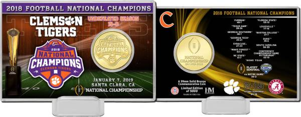 Highland Mint 2018 National Champions Clemson Tigers Bronze Coin Card product image