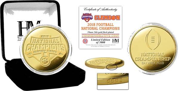 Highland Mint 2018 National Champions Clemson Tigers Gold Mint Coin product image