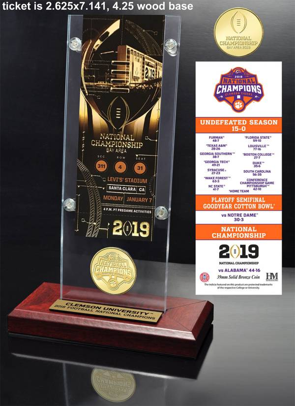 Highland Mint 2018 National Champions Clemson Tigers Bronze Coin and Ticket Desktop Acrylic Display product image