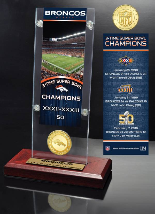 Highland Mint Denver Broncos Super Bowl Champions Ticket & Minted Coin Acrylic Desktop Display product image