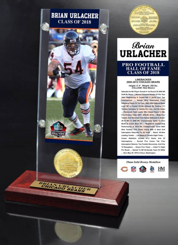 Highland Mint Chicago Bears Brian Urlacher 2018 Pro Football Hall of Fame Induction Ticket & Coin Acrylic Desktop Display product image
