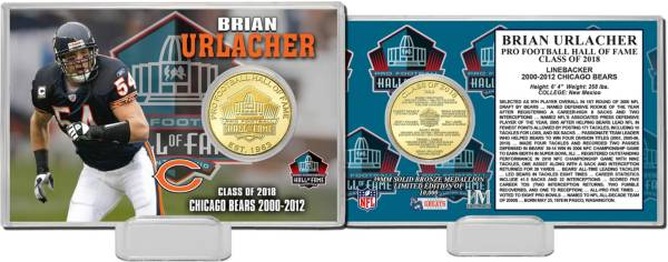 Highland Mint Chicago Bears Brian Urlacher 2018 Pro Football Hall of Fame Induction Bronze Coin Card product image