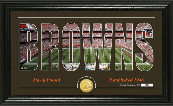 "Highland Mint Cleveland Browns ""Silhouette"" Panoramic Bronze Coin Photo Mint product image"