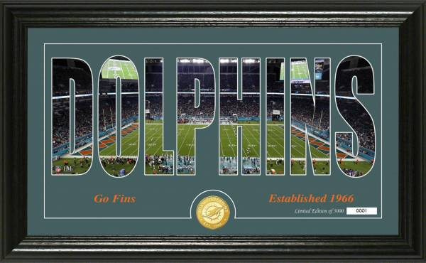 """Highland Mint Miami Dolphins """"Silhouette"""" Panoramic Bronze Coin Photo Mint product image"""