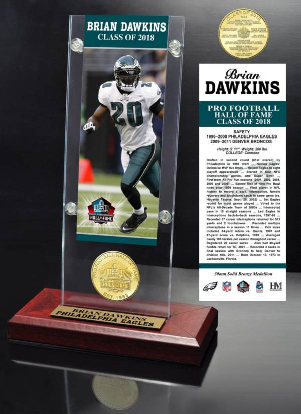 Highland Mint Philadelphia Eagles Brian Dawkins 2018 Pro Football Hall of Fame Induction Ticket & Coin Acrylic Desktop Display product image