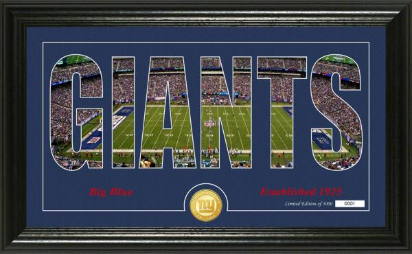 "Highland Mint New York Giants ""Silhouette"" Panoramic Bronze Coin Photo Mint product image"