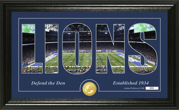 """Highland Mint Detroit Lions """"Silhouette"""" Panoramic Bronze Coin Photo Mint product image"""