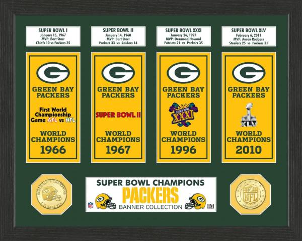 Highland Mint Green Bay Packers Super Bowl Banner Collection Photo Mint product image