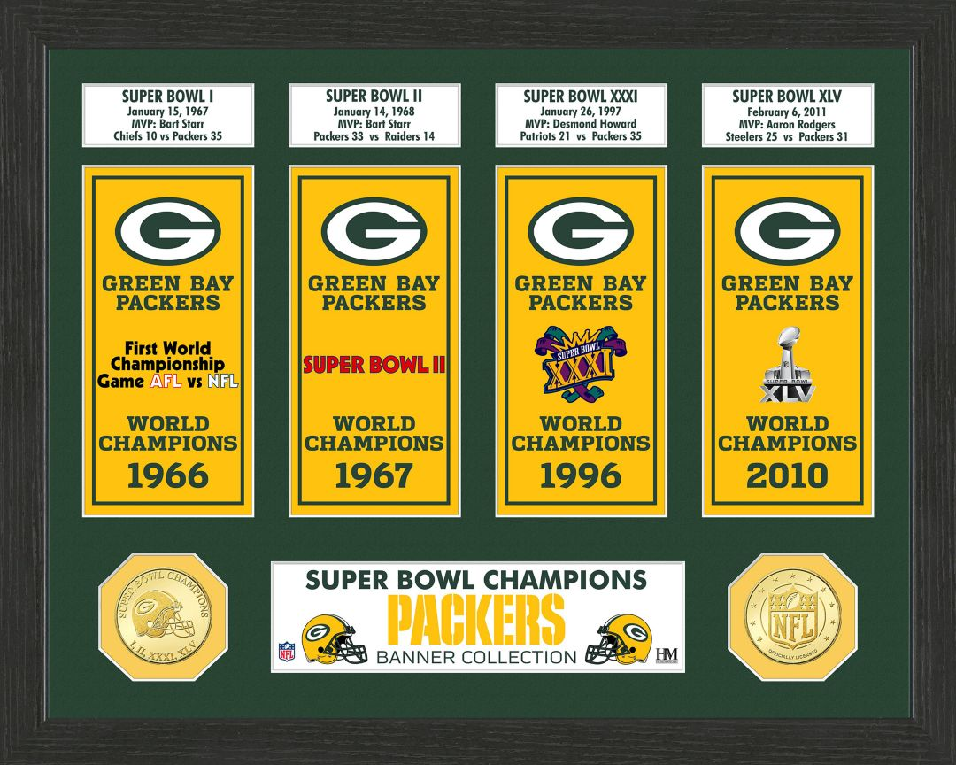 6630259d Highland Mint Green Bay Packers Super Bowl Banner Collection Photo Mint.  noImageFound. 1