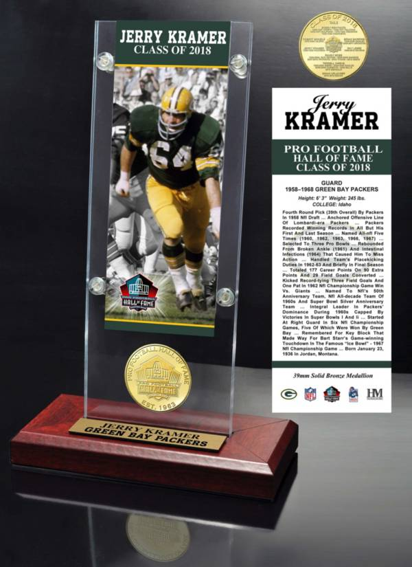 Highland Mint Green Bay Packers Jerry Kramer 2018 Pro Football Hall of Fame Induction Ticket & Coin Acrylic Desktop Display product image