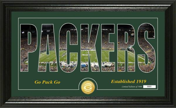 "Highland Mint Green Bay Packers ""Silhouette"" Panoramic Bronze Coin Photo Mint product image"