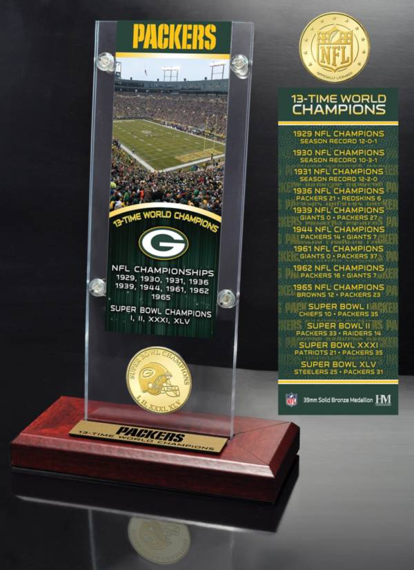 Highland Mint Green Bay Packers Super Bowl Champions Ticket & Minted Coin Acrylic Desktop Display product image