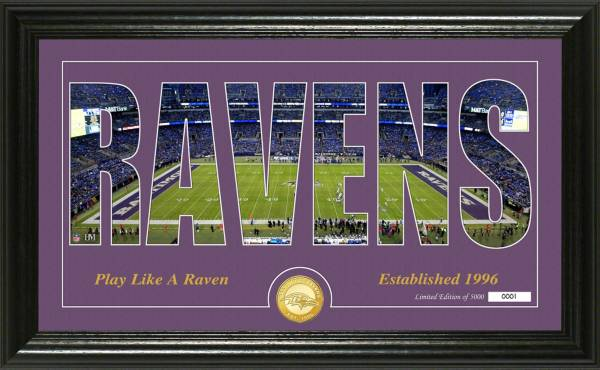 "Highland Mint Baltimore Ravens ""Silhouette"" Panoramic Bronze Coin Photo Mint product image"