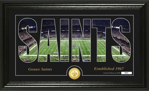 """Highland Mint New Orleans Saints """"Silhouette"""" Panoramic Bronze Coin Photo Mint product image"""