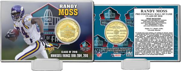 Highland Mint Minnesota Vikings Randy Moss 2018 Pro Football Hall of Fame Induction Bronze Coin Card product image