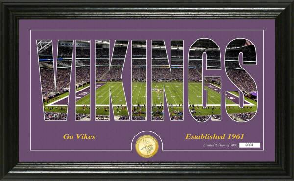 "Highland Mint Minnesota Vikings ""Silhouette"" Panoramic Bronze Coin Photo Mint product image"