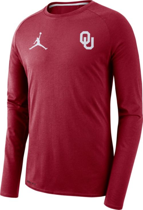 Jordan Men s Oklahoma Sooners Crimson Alpha Dri-FIT Long Sleeve Shirt  f04ddea06f7