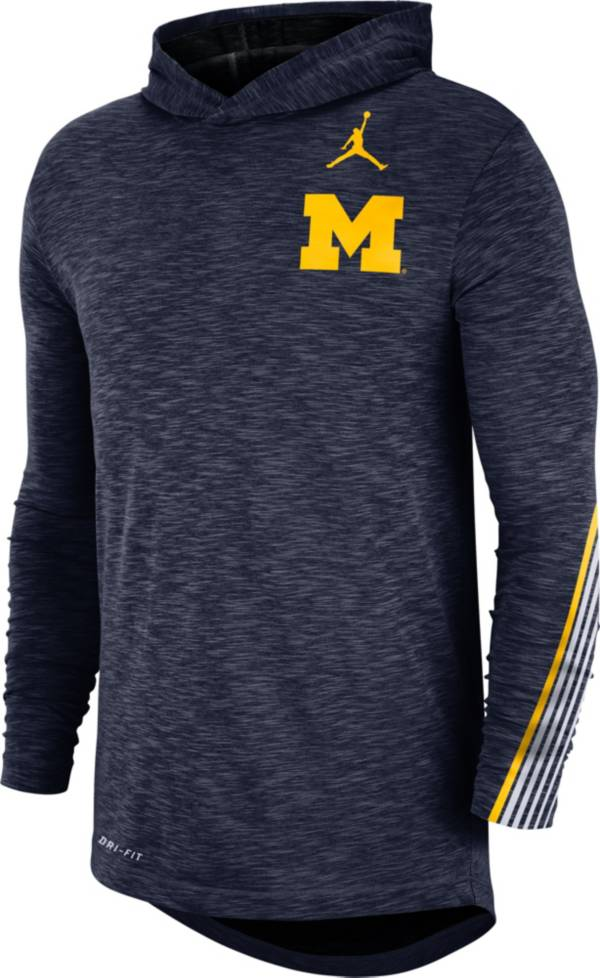 Jordan Men's Michigan Wolverines Blue Cotton Long Sleeve Hoodie T-Shirt product image