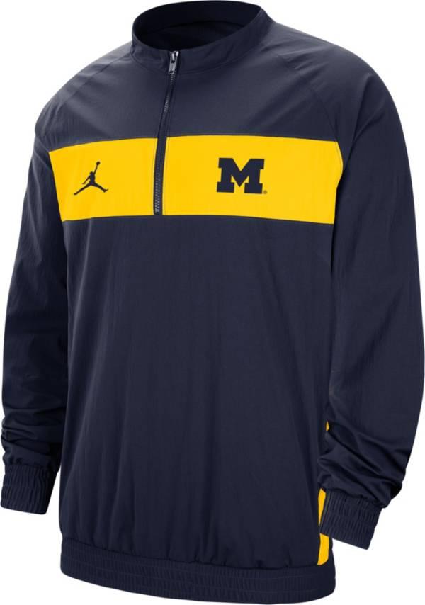 Jordan Men's Michigan Wolverines Blue Lockdown Half-Zip Football Jacket product image
