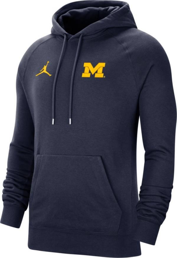 Jordan Men's Michigan Wolverines Blue Therma Football Sideline Pullover Hoodie product image