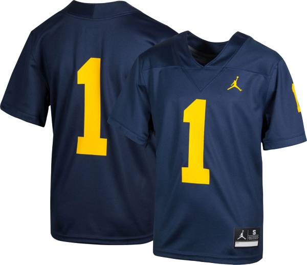 Jordan Youth Michigan Wolverines #1 Blue Game Football Jersey product image