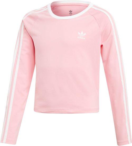 ef02c8b3d adidas Originals Girls' 3-Stripes Cropped Long Sleeve Shirt. noImageFound.  Previous