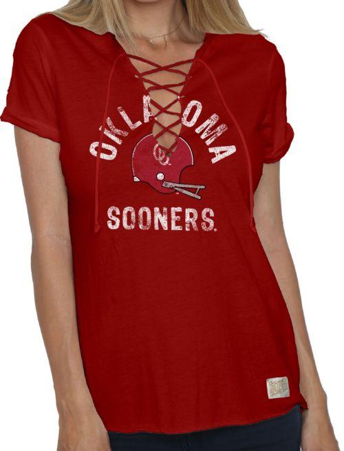 5e2ecdf5 Original Retro Brand Women's Oklahoma Sooners Crimson Esmeralda Lace Up V-Neck  T-Shirt. noImageFound. 1