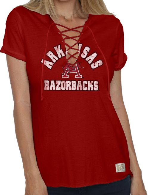 Original Retro Brand Women s Arkansas Razorbacks Cardinal Esmeralda Lace Up  V-Neck T-Shirt. noImageFound. 1 5fe925686