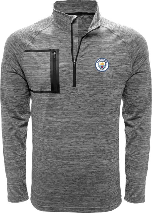 94be026a37c Levelwear Men s Manchester City Vault Logo Heather Grey Quarter-Zip ...