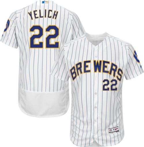 Majestic Men s Authentic Milwaukee Brewers Christian Yelich  22 Flex Base  Alternate White On-Field Jersey. noImageFound. Previous ca584cd86