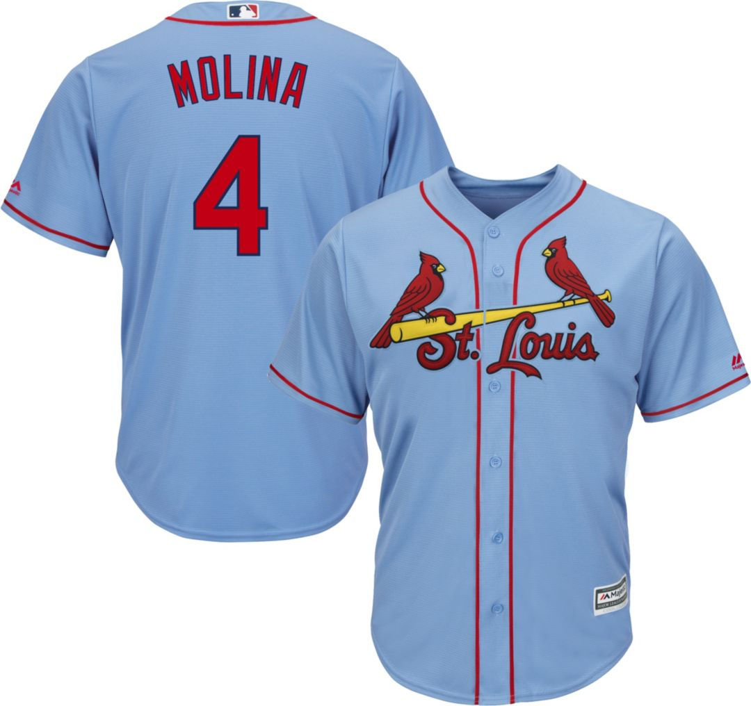 promo code 6ff45 ab61b Majestic Men's Replica St. Louis Cardinals Yadier Molina #4 Cool Base  Alternate Light Blue Jersey