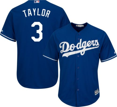cheap for discount c75a5 c4481 Majestic Men's Replica Los Angeles Dodgers Chris Taylor #3 Cool Base  Alternate Royal Jersey