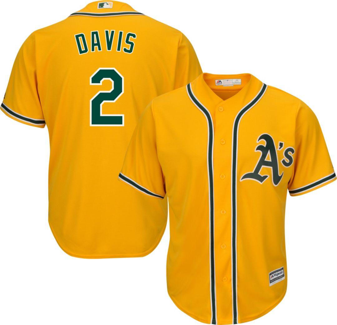 best website f60a3 cef48 Majestic Men's Replica Oakland Athletics Khris Davis #2 Cool Base Alternate  Gold Jersey