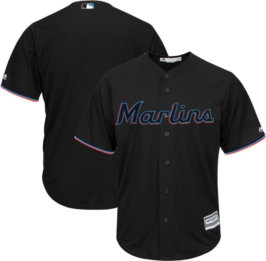 73434fa3 Majestic Men's Replica Miami Marlins Cool Base Alternate Black Jersey