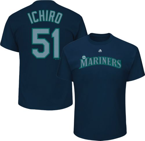 d4e628aac Majestic Men s Seattle Mariners Ichiro Suzuki  51 Navy T-Shirt ...