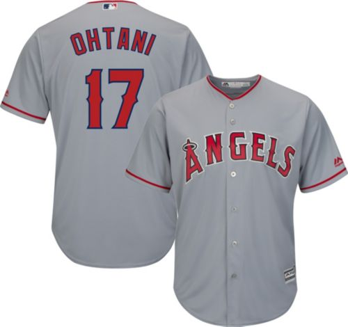 6ab94a6d1 Majestic Men s Replica Los Angeles Angels Shohei Ohtani  17 Cool Base Road  Grey Jersey