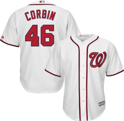 4608a362ad4 Majestic Men s Replica Washington Nationals Patrick Corbin  46 Cool Base  Home White Jersey. noImageFound. Previous