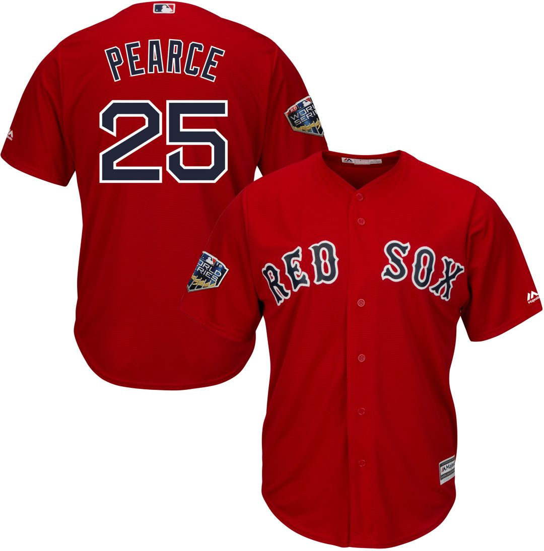 quality design 67a19 915b2 Majestic Men's 2018 World Series Replica Boston Red Sox Steve Pearce Cool  Base Alternate Red Jersey