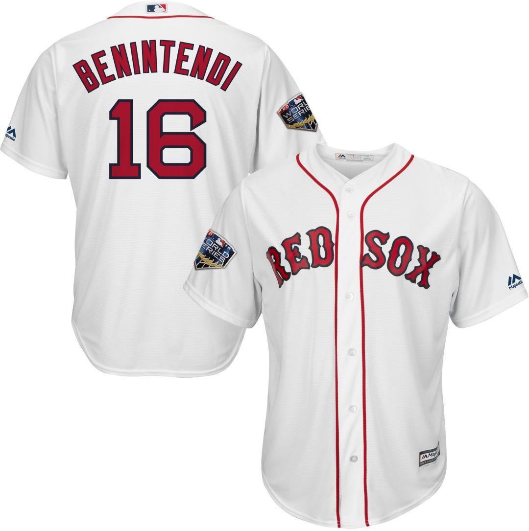 sale retailer 657e0 baaaf Majestic Men's 2018 World Series Replica Boston Red Sox Andrew Benintendi  Cool Base Home White Jersey