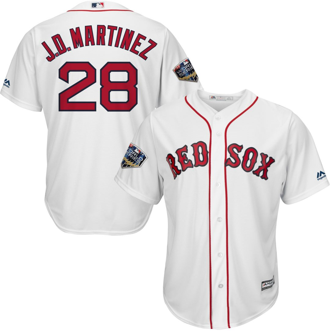 sports shoes 652c1 49152 Majestic Men's 2018 World Series Replica Boston Red Sox J.D. Martinez Cool  Base Home White Jersey