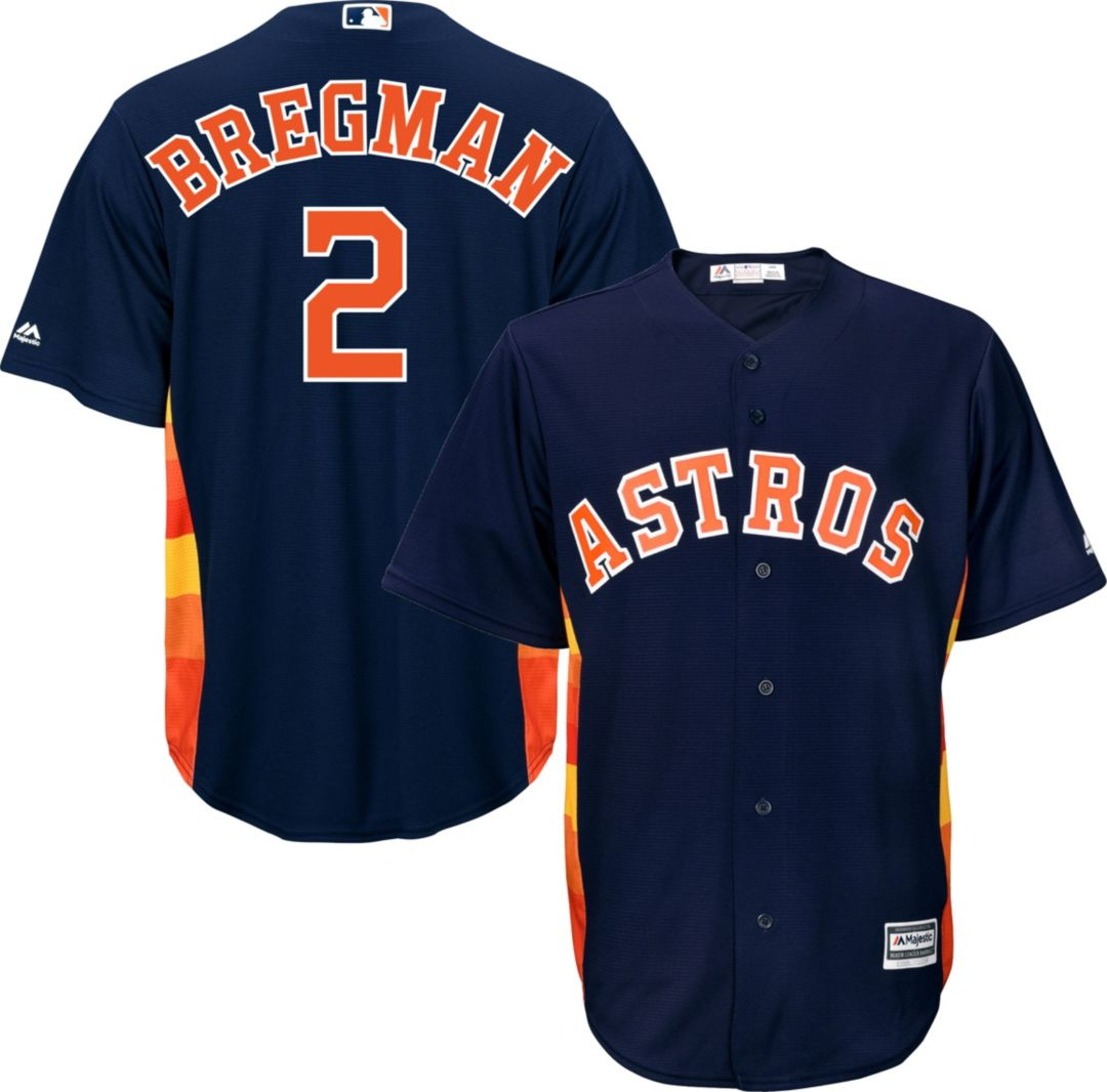 low priced 41623 ad821 Majestic Men's Replica Houston Astros Alex Bregman #2 Cool Base Alternate  Navy Jersey