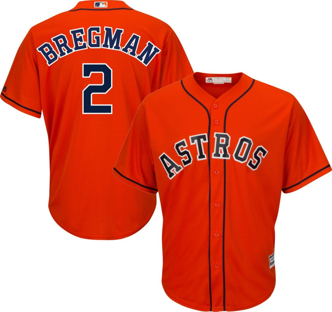 online store 67baf 1b74b Majestic Men's Replica Houston Astros Alex Bregman #2 Cool Base Alternate  Orange Jersey