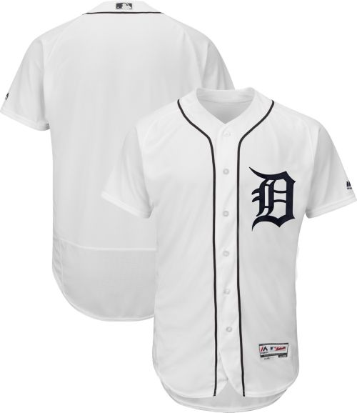 36fa3b2bf Majestic Men's Authentic Detroit Tigers Flex Base Home White On ...