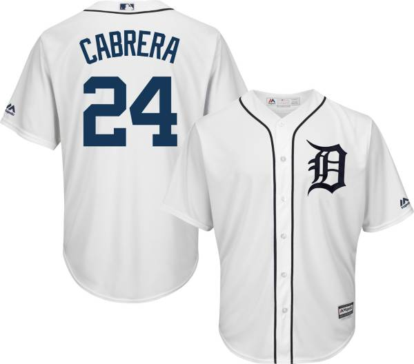 Majestic Men's Replica Detroit Tigers Miguel Cabrera #24 Cool Base Home White Jersey product image
