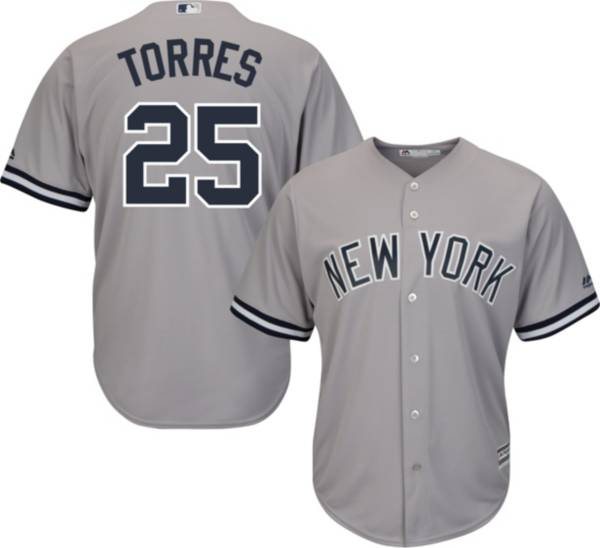 Majestic Men's Replica New York Yankees Gleyber Torres #25 Cool Base Road Grey Jersey product image