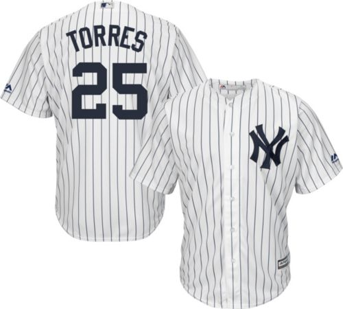 37010052a Majestic Men's Replica New York Yankees Gleyber Torres #25 Cool Base Home  White Jersey. noImageFound. Previous