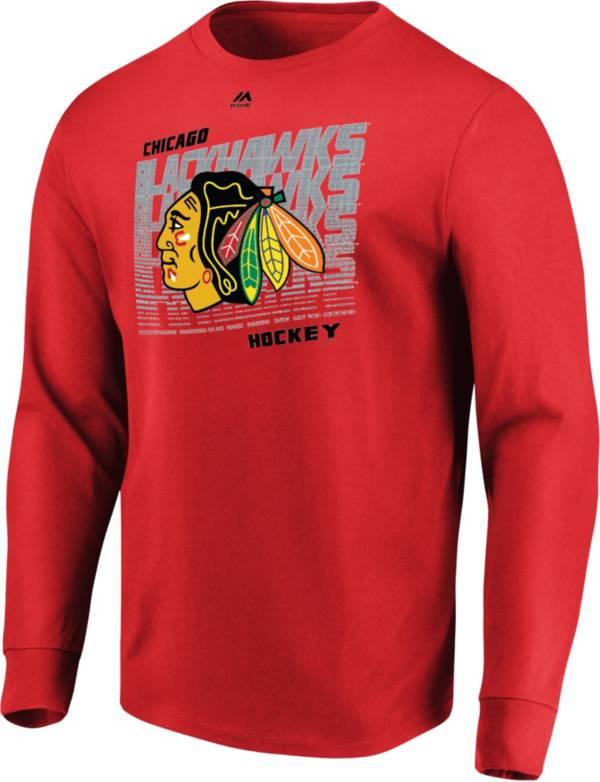 Majestic Men's Chicago Blackhawks Penalty Shot Red Long Sleeve Shirt product image
