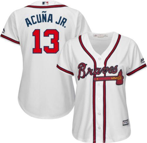 Majestic Women s Replica Atlanta Braves Ronald Acuña  13 Cool Base Home  White Jersey 5a24e0c11