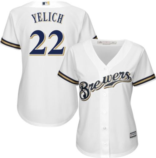 Majestic Women s Replica Milwaukee Brewers Christian Yelich  22 Cool Base  Home White Jersey. noImageFound. Previous 920705ee0