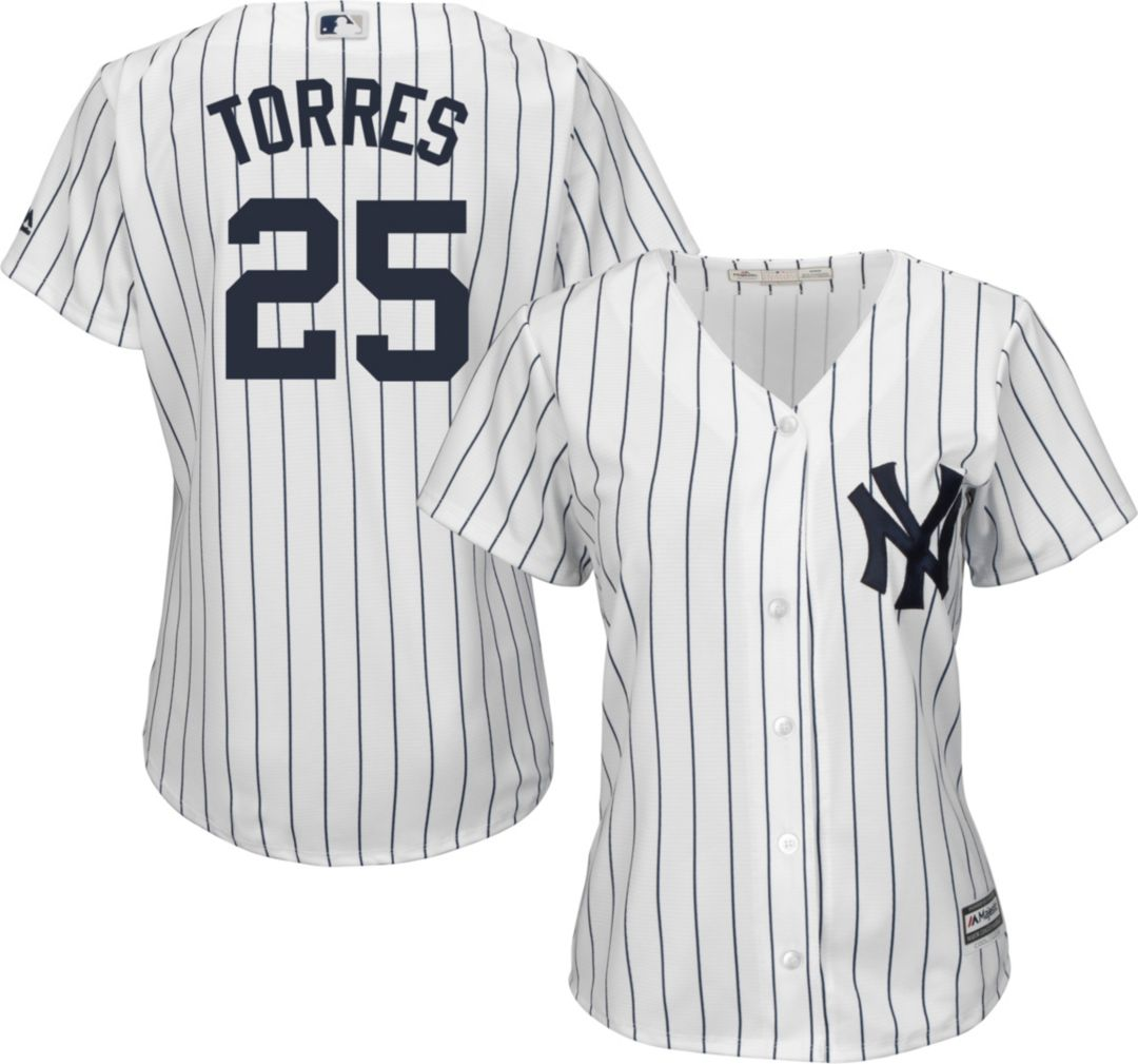 wholesale dealer 445bd 45a2d Majestic Women's Replica New York Yankees Gleyber Torres #25 Cool Base Home  White Jersey